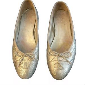 Chanel Gold Quilted Ballet Flats/shoes